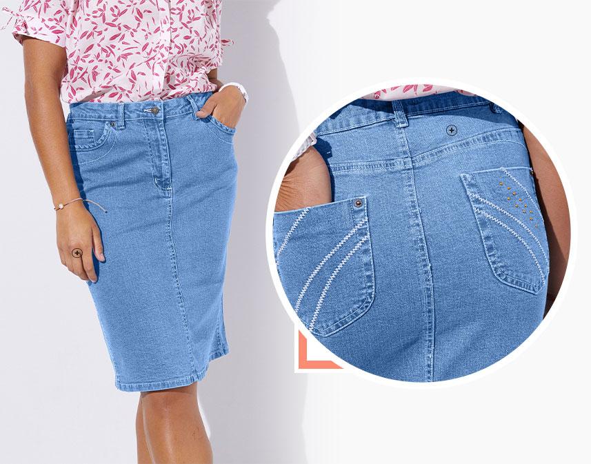 Jupon en jean longue volanté léger ceinture smockée en coton - pas cher - Blancheporte