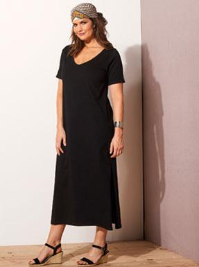 Robe longue noir avec manches courtes col V en jersey coton ISABELLA® - pas cher - Blancheporte