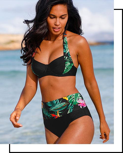 Ensemble maillot de bain 2 pièces avec armatures noir imprimé tropicale sculptant modulable pas cher - Blancheporte
