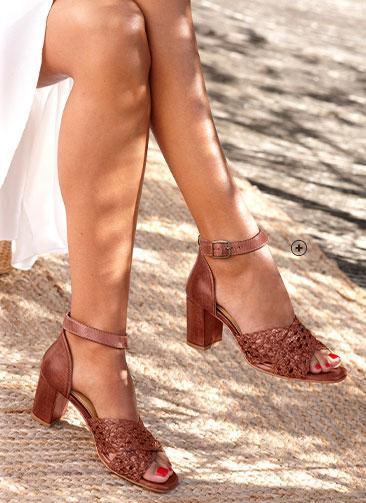Sandales marrons tressées en cuir à talon large pas cher- Blancheporte