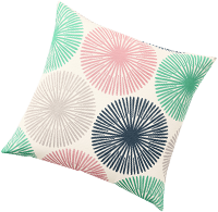 Housse de coussin rose et verte imprimé rosaces - lot de 2 OEKO-TEX® - pas cher - Blancheporte