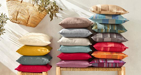 Housse coussin tissé multicolore en coton - lot de 2 - pas cher - Blancheporte