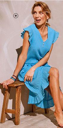 Robe mi-longue bleue volantée crêpe coton manches courtes col V Coeur au Sud® pas cher - Blancheporte