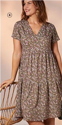 Robe mi-longue marron volantée imprimée fleuris col V manches courtes grande taille Isabella® pas cher - Blancheporte