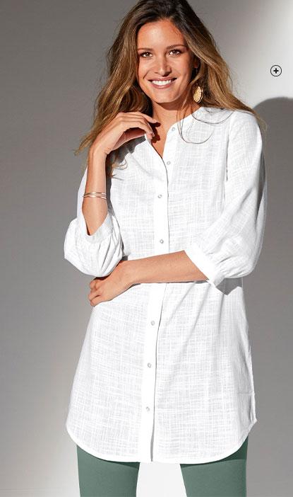 Chemise blanche longue unie manches 3/4 coton effet lin pas cher - Blancheporte