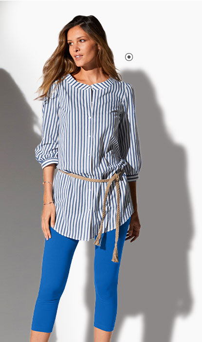 Chemise blanche et bleue longue rayée manches 3/4 col rond coton pas cher - Blancheporte