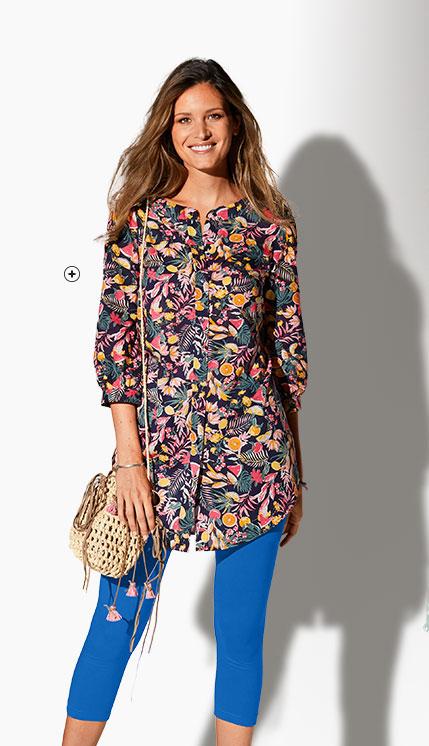 Chemise longue bleue imprimé fleurs multicolore manches 3/4 col rond en coton pas cher - Blancheporte