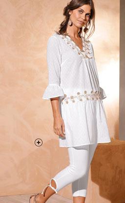 Legging blanc coton taille élastique 3/4 nouettes Coeur au Sud® pas cher - Blancheporte