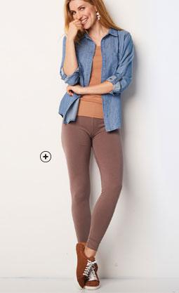 Legging long marron coton taille élastique Colors & Co® pas cher - Blancheporte