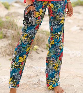 Pantalon fluide bleu et kaki crépon imprimé tropicale coupe droite et ceinture élastiquée pas cher - Blancheporte