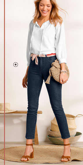 Blouse blanche unie encolure nouée manches longues coton pas cher - Blancheporte