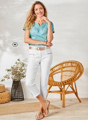 Pantacourt en jean blanc jambe boutonnée coupe droite poche zippée Colors & Co® pas cher - Blancheporte