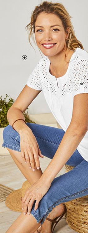 Tee-shirt blanc manches courtes, plastron broderie anglaise coton Colors & Co® pas cher - Blancheporte