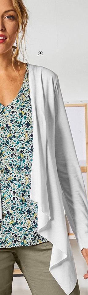 Gilet blanc fluide manches longues coupe évasée Colors & Co® pas cher - Blancheporte