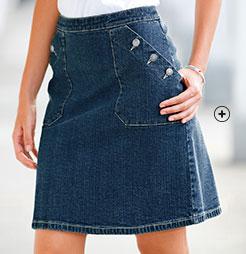 Jupe en jean denim courte bleu foncé avec poches boutonnées pas cher - Blancheporte