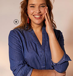 Chemise en jean denim légere bleu foncé manches longues coton grande taille Isabella® pas cher - Blancheporte