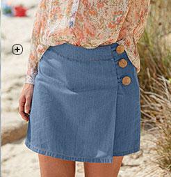 Jupe short en jean denim bleu clair boutonnée base droite fermeture zippée coton pas cher - Blancheporte