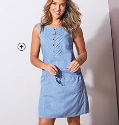 Robe en jean denim bleu clair plastron sans manches avec poches coton grande taille Isabella® pas cher - Blancheporte