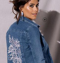 Veste brodée en jean denim bleu manches longues avec poches Lora Zellini® pas cher - Blancheporte