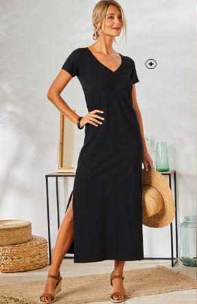 Robe longue stretch noire à fente manches courtes col V Colors & Co® pas cher - Blancheporte