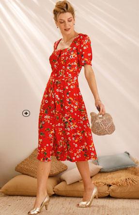 Robe mi-longue rouge imprimée fleurs ceinturé col carré pas cher - Blancheporte
