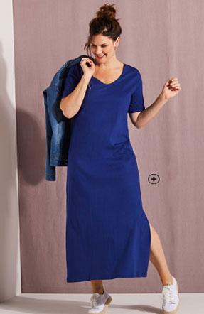 Robe longue bleue à fente manches courtes col V coton grande taille Isabella® pas cher - Blancheporte