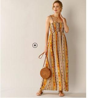 Robe longue bustier avec bretelles orange et marron coupe évasée Lady Kréation® pas cher - Blancheporte