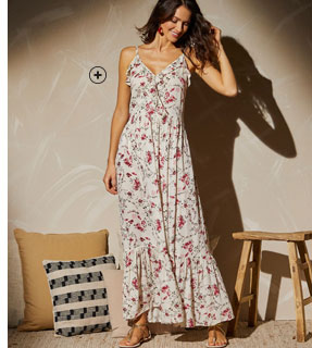 Robe longue à volants rose imprimée fleurs fines bretelles col V Lady Kréation® pas cher - Blancheporte