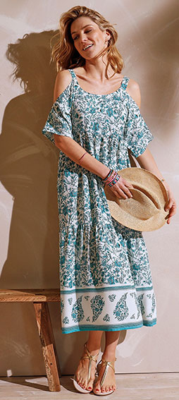 Robe longue bleu clair et blanche imprimée fleurs à volants manches courtes Coeur au Sud® pas cher - Blancheporte