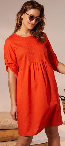 Robe courte orange coton et lin manches 3/4 grande taille Isabella® pas cher - Blancheporte
