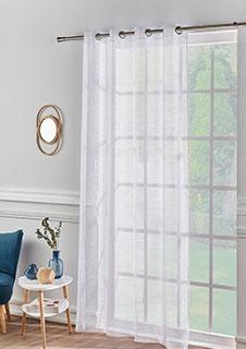 Rideau panneau salon blanc fines rayures à oeillets pas cher - Blancheporte