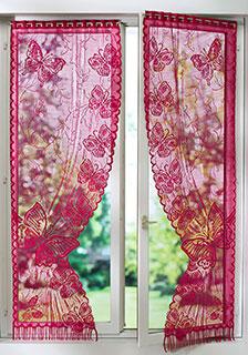 Rideau jacquard rouge motifs papillons à oeillets passe-tringle pas cher - Blancheporte