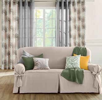 Rideau salon beige et gris imprimé palmiers à oeillets coton Oeko-Tex® pas cher - Blancheporte