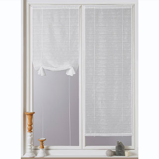 Rideau voilage vitrage blanc fines rayures passe-tringle pas cher - Blancheporte