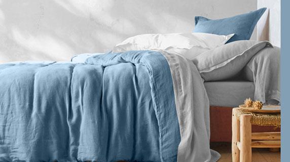 Parure linge de lit bleue unie lin lavé Oeko-Tex® Colombine® pas cher - Blancheporte