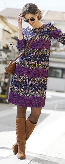 Robe femme courte violette droite fluide imprimé fleurs manches 7/8ème col rond pas cher - Blancheporte