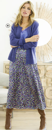 Cardigan femme bleu boutonné ajouré toucher mohair manches longues pas cher - Blancheporte