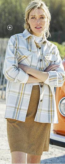 Veste surchemise femme blanche à carreaux manches longues pas cher - Blancheporte