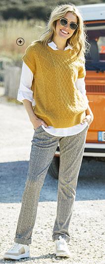 Pull femme jaune maille torsadé sans manches épaules tombantes pas cher - Blancheporte