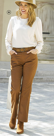 Pantalon femme marron bootcut large 5 poches pas cher - Blancheporte