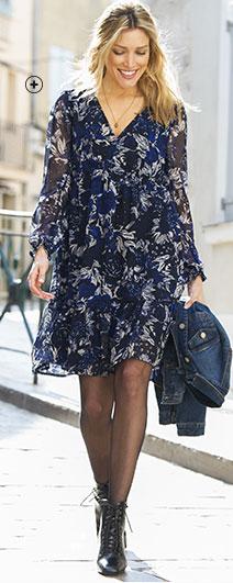 Pull femme bleu maille fantaisie col tunisien manches longues pas cher - Blancheporte