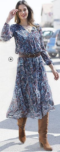 Robe femme courte bleue cache-coeur imprimé fleurs manches longues pas cher - Blancheporte