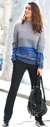Robe femme mi-longue bleue voile imprimé col V manches longues pas cher - Blancheporte