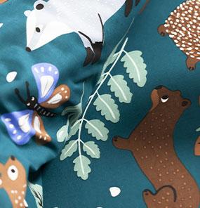 Bedlinnen voor kinderen met knuffelbeer motief in biologisch katoen, eco-verantwoord