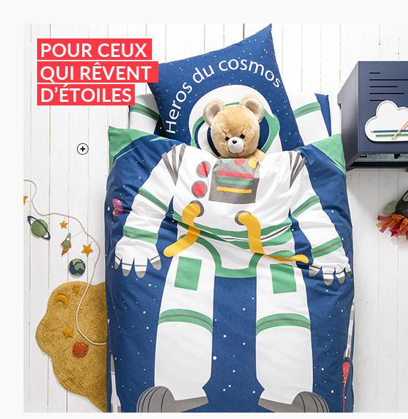 Linge de lit enfant bleu motif cosmonaute en coton -  pas cher - Blancheporte