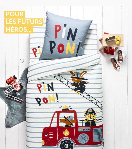 Parure linge de lit enfant blanc et gris motifs pompiers coton Oeko-Tex® Colombine des Petits® pas cher - Blancheporte