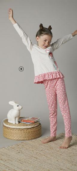 Pyjama enfant fille coton imprimé biche pas cher - Blancheporte