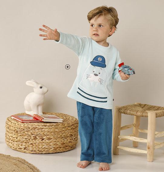 Pyjama enfant garçon bleu velours imprimé pas cher - Blancheporte