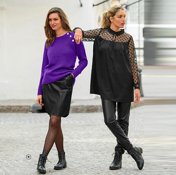 Tenue casual cardigan femme, pantalon noir et bottines en cuir pas cher - Blancheporte