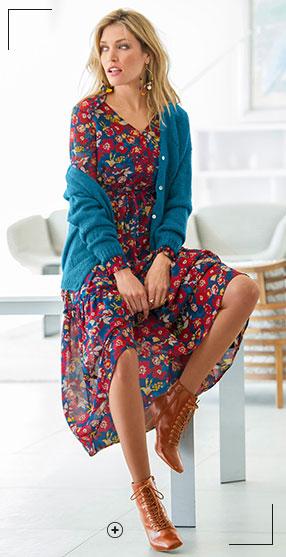 Look robe longue en voile femme et bottines en cuir pas cher - Blancheporte